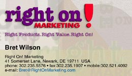 Right On Marketing Card